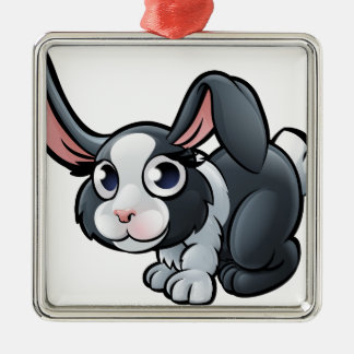 Rabbit Farm Animals Cartoon Character Silver-Colored Square Decoration