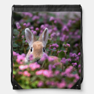 Rabbit farm drawstring bag