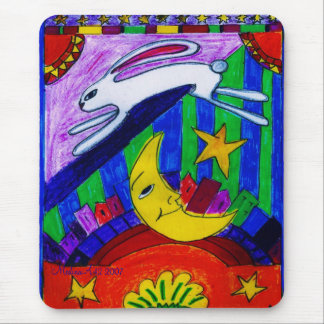rabbit flew over the moon, mouse pad