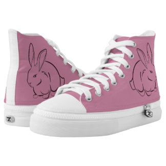 Rabbit floral decoration printed shoes