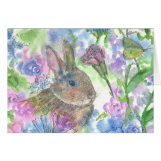 Rabbit Flower Garden Happy Easter Card