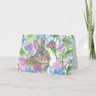 Rabbit Flower Garden Happy Easter Holiday Card