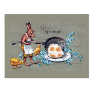 Rabbit Frying Eggs Vintage Easter Post Card
