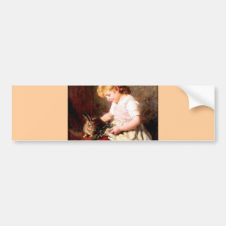 Rabbit Girl Feeding Pet Bunny Painting Bumper Sticker