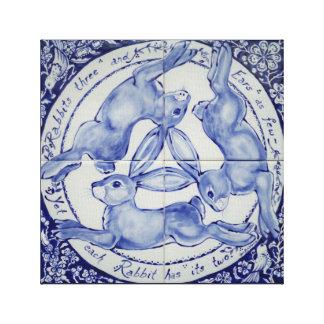 Rabbit Hare Bird Tile Medallion Art Blue & White Canvas Print