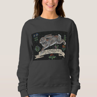 Rabbit Hare Floral Black Folk Art Women's Shirt