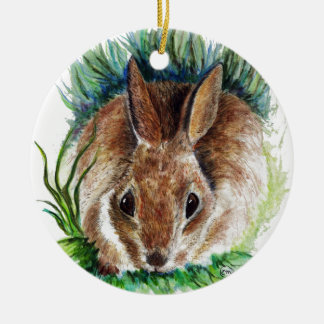 Rabbit Hiding in the Grass - Watercolor Pencil Double-Sided Ceramic Round Christmas Ornament