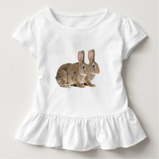 Rabbit image for Toddler Ruffle Tee, White Toddler T-Shirt