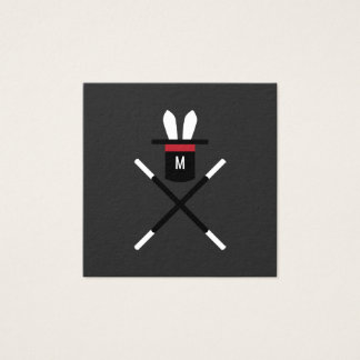 Rabbit in a Hat Dark Gray & Red Monogram Magician Square Business Card