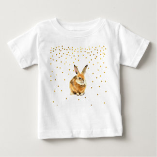 Rabbit in a Shower Golden Polka Dots Baby T-Shirt