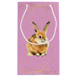 Rabbit in a Shower of Golden Polka Dots Small Gift Bag