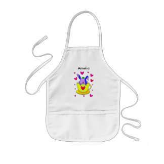 Rabbit in a tea cup kids apron