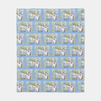 Rabbit in Blue Dutch Irises Fleece Blanket