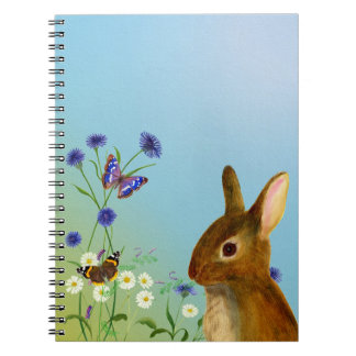 Rabbit in Cornflowers, daisies, vetch watercolor Notebooks