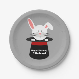 Rabbit In Hat Magician Birthday 7 Inch Paper Plate