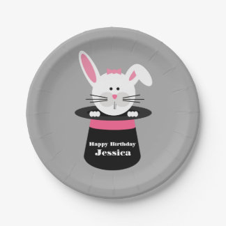 Rabbit In Hat Magician Birthday - Pink 7 Inch Paper Plate