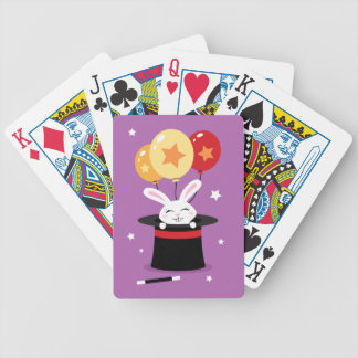 Rabbit in magicians hat and colorful balloons poker deck
