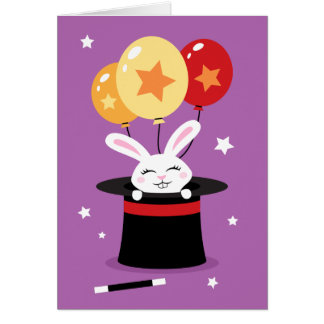 Rabbit in magicians hat magic show birthday note card