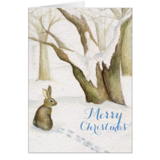 Rabbit in snow woods watercolor Christmas card
