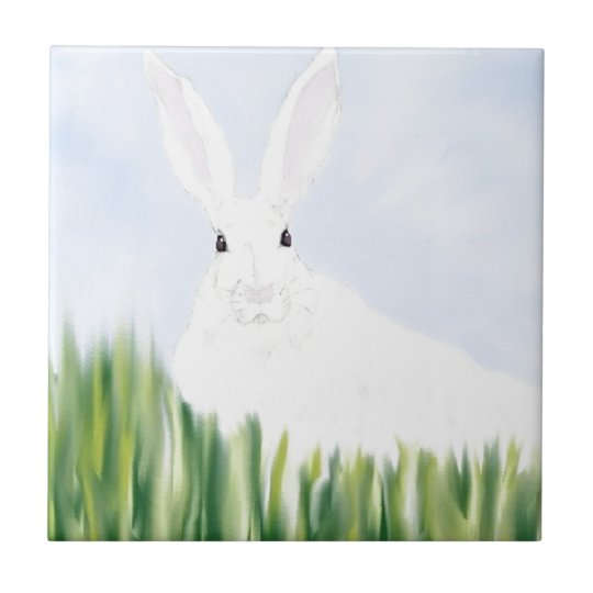 RABBIT IN THE FIELD SMALL SQUARE TILE