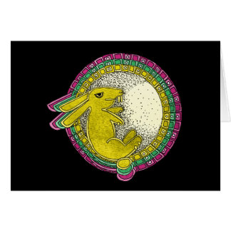 Rabbit in the Moon Greeting Card (pink/grn/yellow)