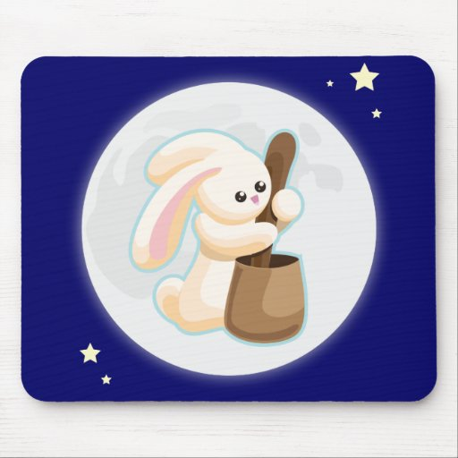 Rabbit in the Moon Mousepads