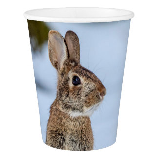 Rabbit in the snow paper cup