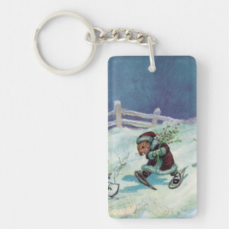 Rabbit in Winter Coat and Snowshoes Single-Sided Rectangular Acrylic Key Ring