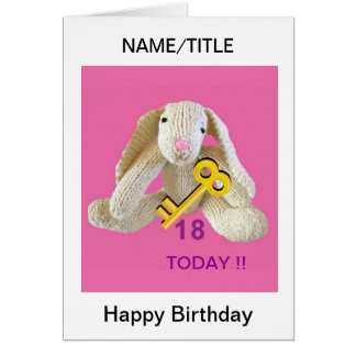 Rabbit Key 18th birthday card daughter name etc.