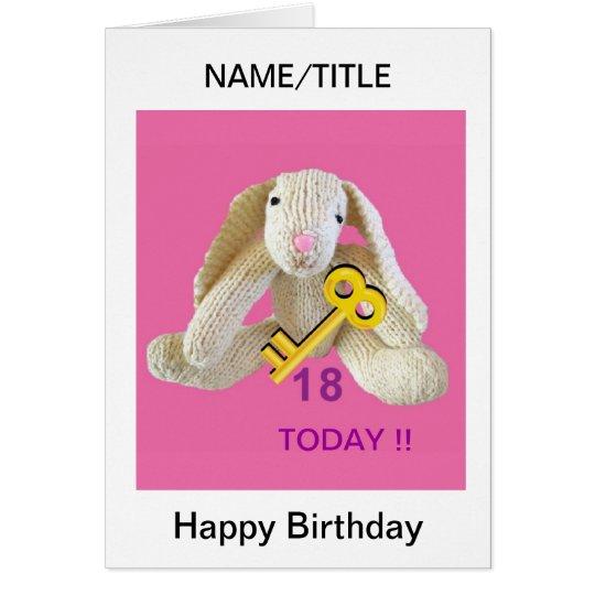 Rabbit Key 18th birthday card daughter name etc.