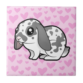 Rabbit Love (floppy ear smooth hair) Small Square Tile