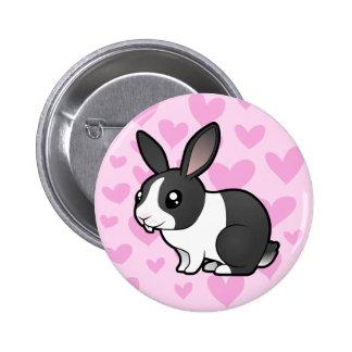 Rabbit Love (uppy ear smooth hair) 6 Cm Round Badge