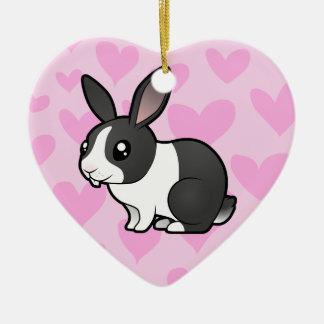 Rabbit Love (uppy ear smooth hair) Christmas Ornament