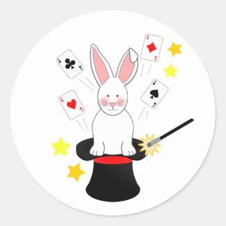 Rabbit Magic Show Birthday Party Classic Round Sticker