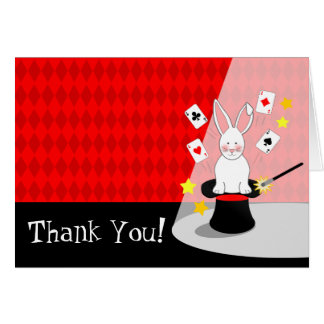Rabbit Magic Show Birthday Thank You Note Card