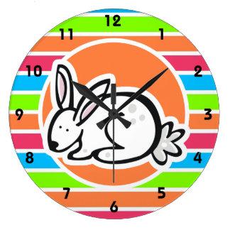 Rabbit; Neon Orange Pink Blue Green Stripes Clock
