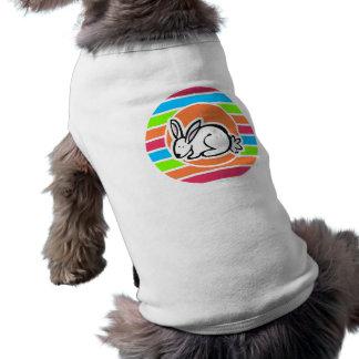 Rabbit; Neon Orange Pink Blue Green Stripes Sleeveless Dog Shirt