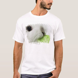 Rabbit nibbling lettuce leaf, close-up T-Shirt