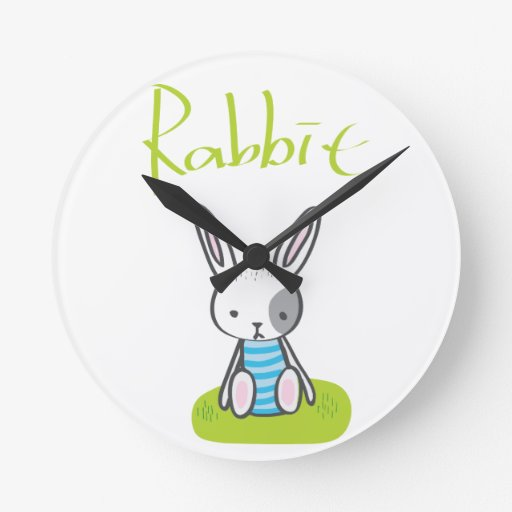 Rabbit on the grass wall clock
