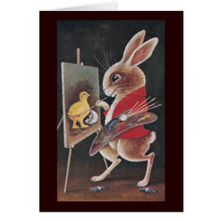 Rabbit Painting Chick Vintage Easter Greeting Card