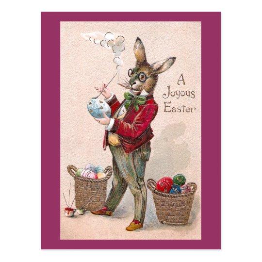 Rabbit Painting Easter Eggs Vintage Postcard