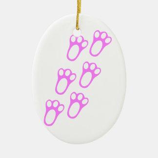 Rabbit Paw Track Ceramic Oval Decoration