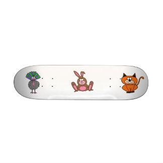 rabbit, peacock, kitty skateboard deck