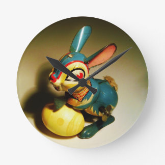 rabbit rabbits toy and easter yellow egg wall clocks