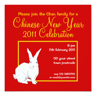 Rabbit red Chinese New Year Invitation