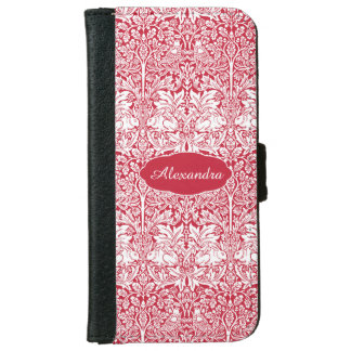 Rabbit Red Pattern Morris Personalized Monogram iPhone 6 Wallet Case