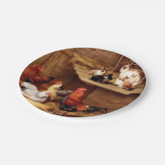 Rabbit Rooster Bunnies Pet Farm Painting Paper Plate