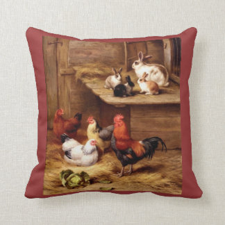 Rabbit rooster hens chicken pillow