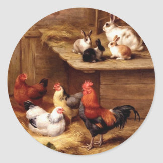 Rabbit rooster hens farm animals bunnies classic round sticker