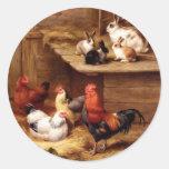 Rabbit rooster hens farm animals bunnies round sticker